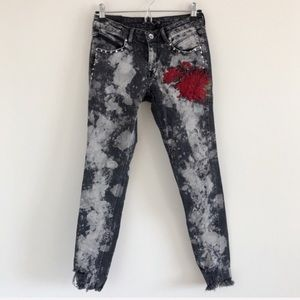 ZARA Embroidered Acid Wash Skinny Jeans 4